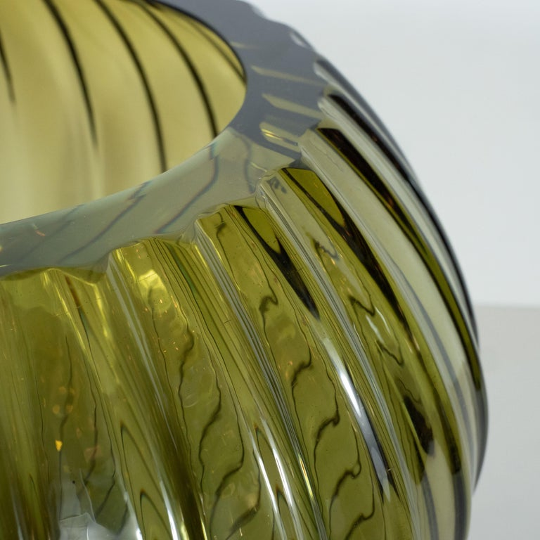 Murano Glass Modernist Hand Blown Murano Ribbed Smoked Emerald Glass Decorative Bowl For Sale