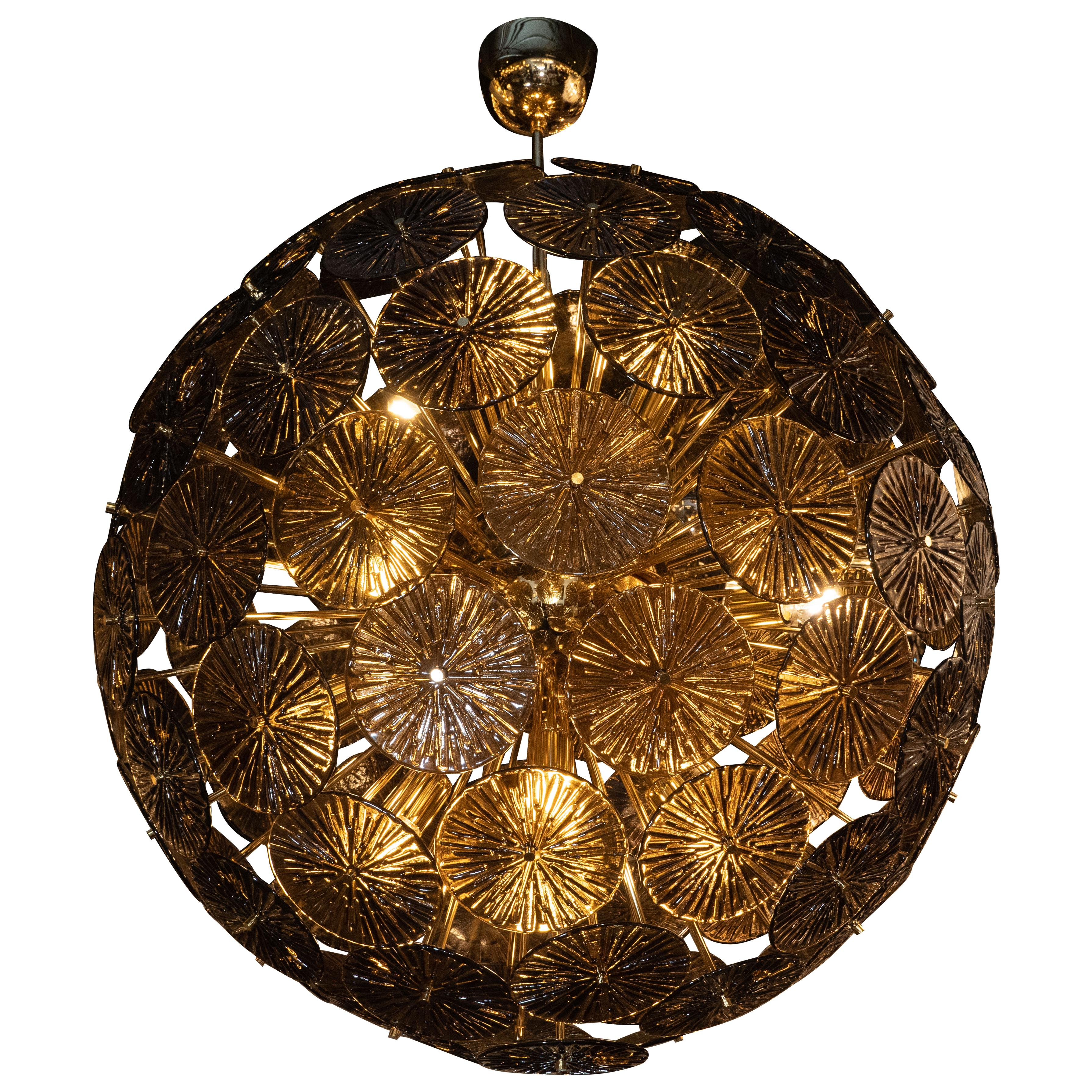 Modernist Handblown Murano Smoked Bronze Glass and Polished Brass Sputnik