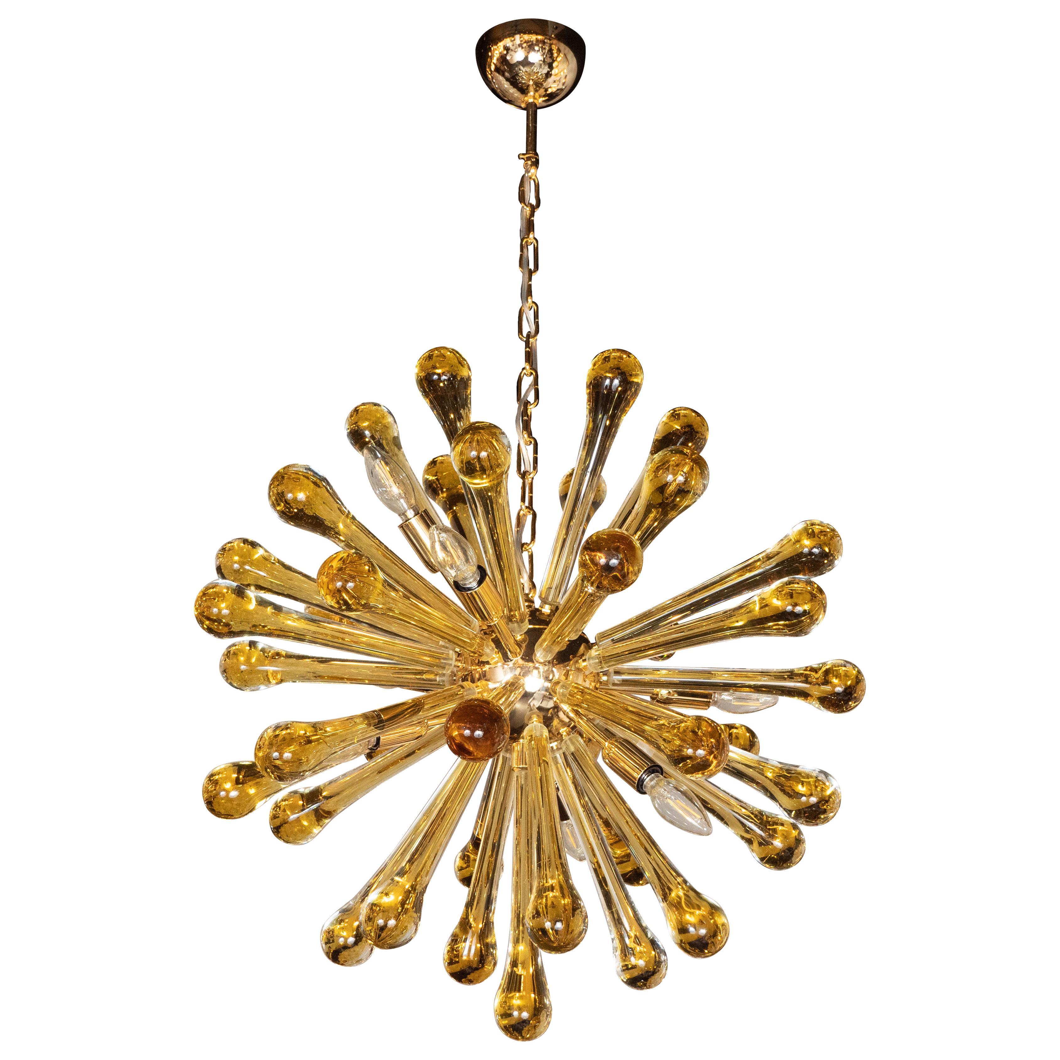 Modernist Handblown Murano Smoked Honey Glass Sputnik with Brass Fittings