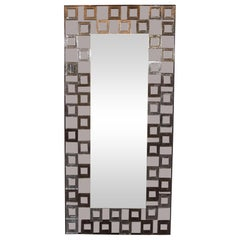 Modernist Handblown Murano Smoked Mirror with Repeating Square Motifs