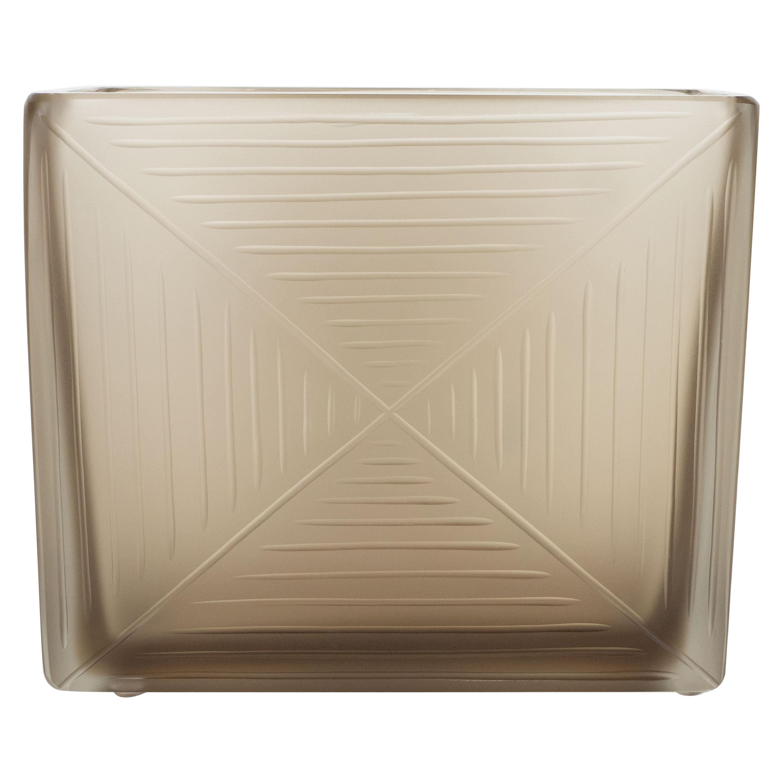 Modernist Handblown Murano Smoked Topaz Glass Vase with Relief Detailing