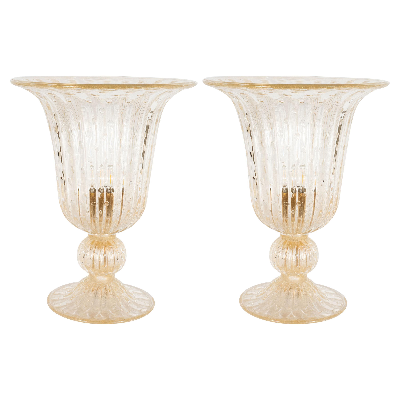 Modernist Handblown Murano Translucent Glass Uplights w/ 24kt Yellow Gold Flecks