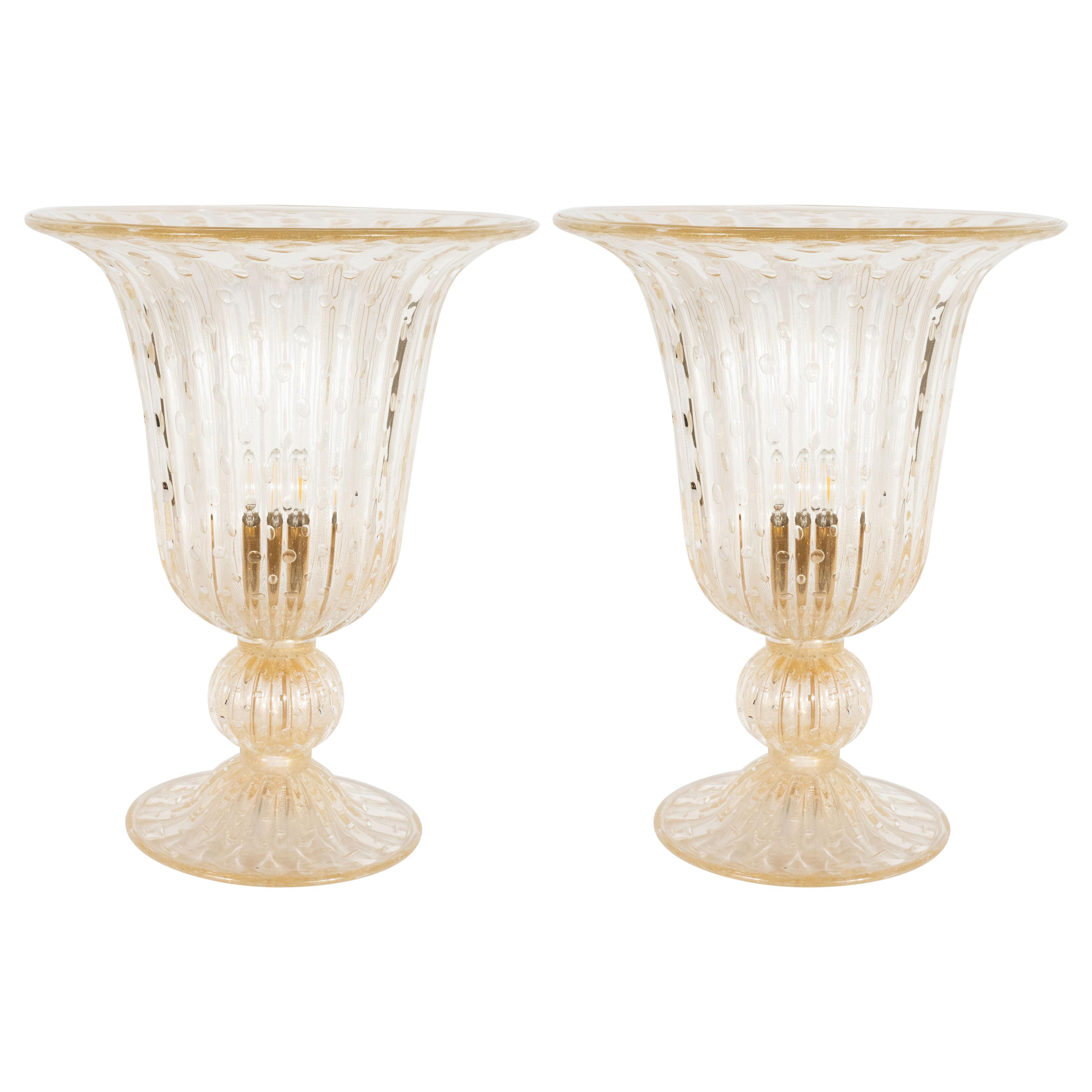 Modernist Handblown Murano Translucent Glass Uplights, 24kt Yellow Gold Flecks