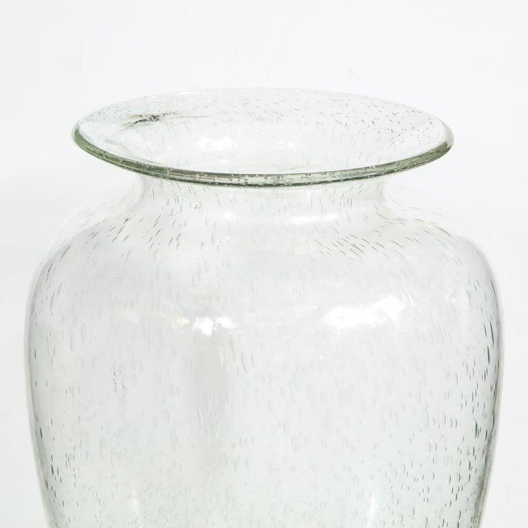 Italian Modernist Hand Blown Murano Translucent Sea Foam Vase For Sale
