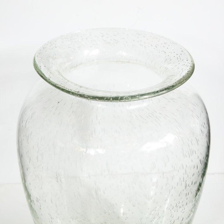 20th Century Modernist Hand Blown Murano Translucent Sea Foam Vase For Sale