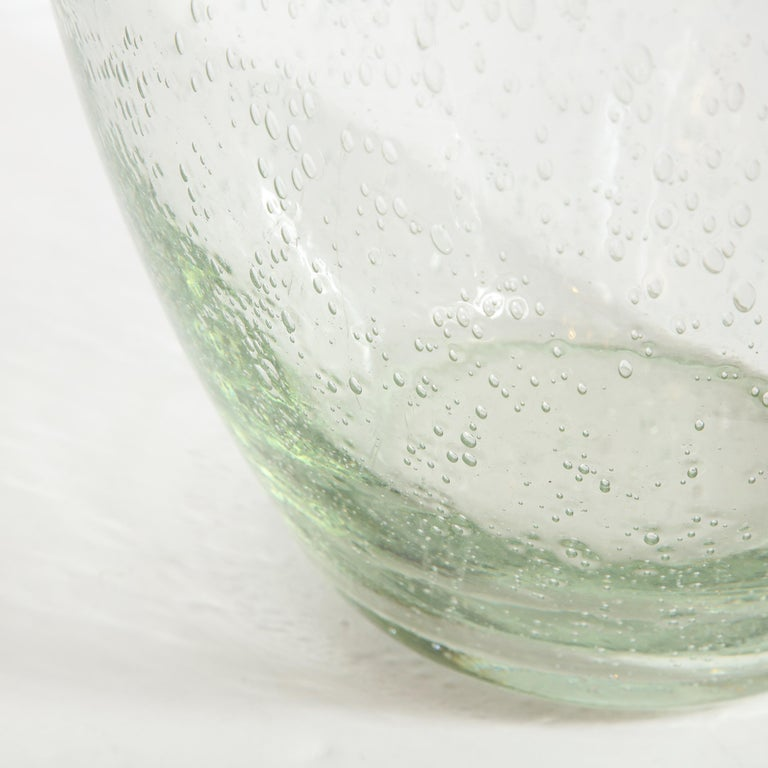 Modernist Hand Blown Murano Translucent Sea Foam Vase For Sale 1
