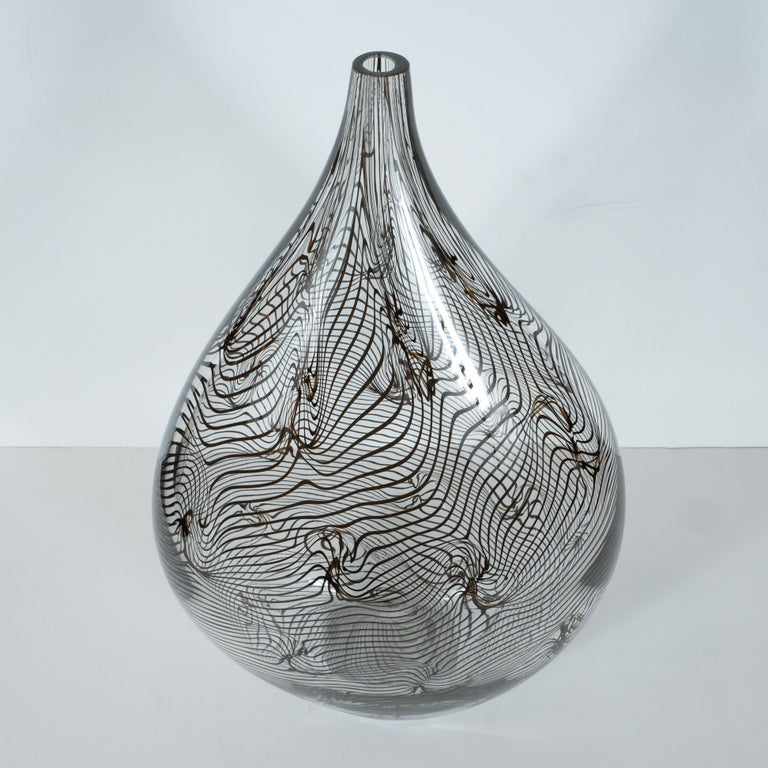 Contemporary Modernist Hand Blown Murano Translucent Tear Drop Vase with Black Swirl Details For Sale