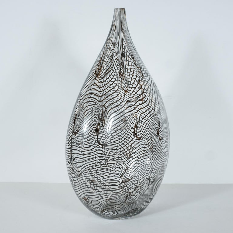 Murano Glass Modernist Hand Blown Murano Translucent Tear Drop Vase with Black Swirl Details For Sale