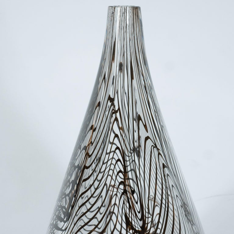 Modernist Hand Blown Murano Translucent Tear Drop Vase with Black Swirl Details For Sale 2