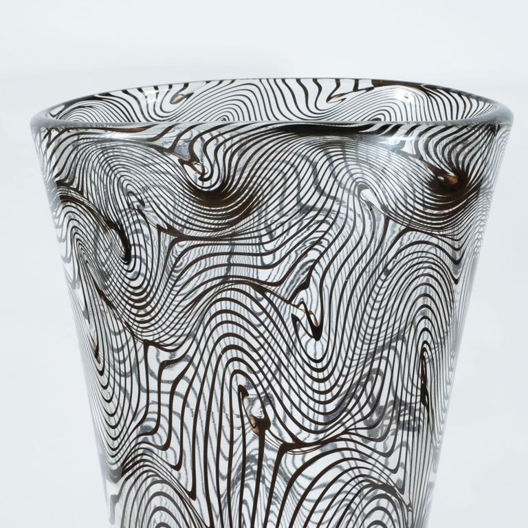 Italian Modernist Hand Blown Murano Translucent Vase with Organic Black Swirl Detailing For Sale