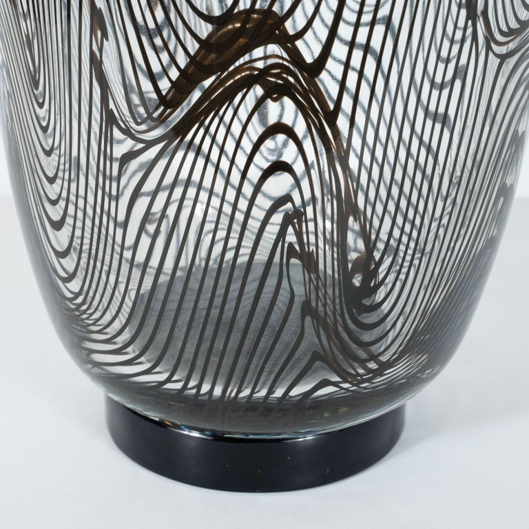 Contemporary Modernist Hand Blown Murano Translucent Vase with Organic Black Swirl Detailing For Sale