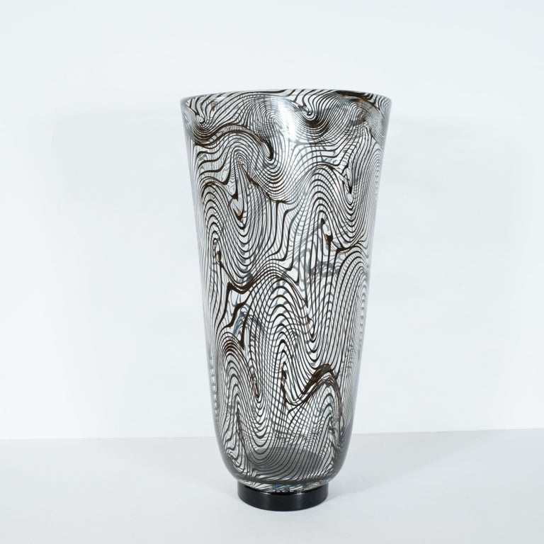 Murano Glass Modernist Hand Blown Murano Translucent Vase with Organic Black Swirl Detailing For Sale