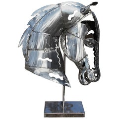 Modernist Handcrafted Iron Horse Head Sculpture