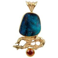 Modernist High Karat Gold, Opal and Madeira Citrine Pendant