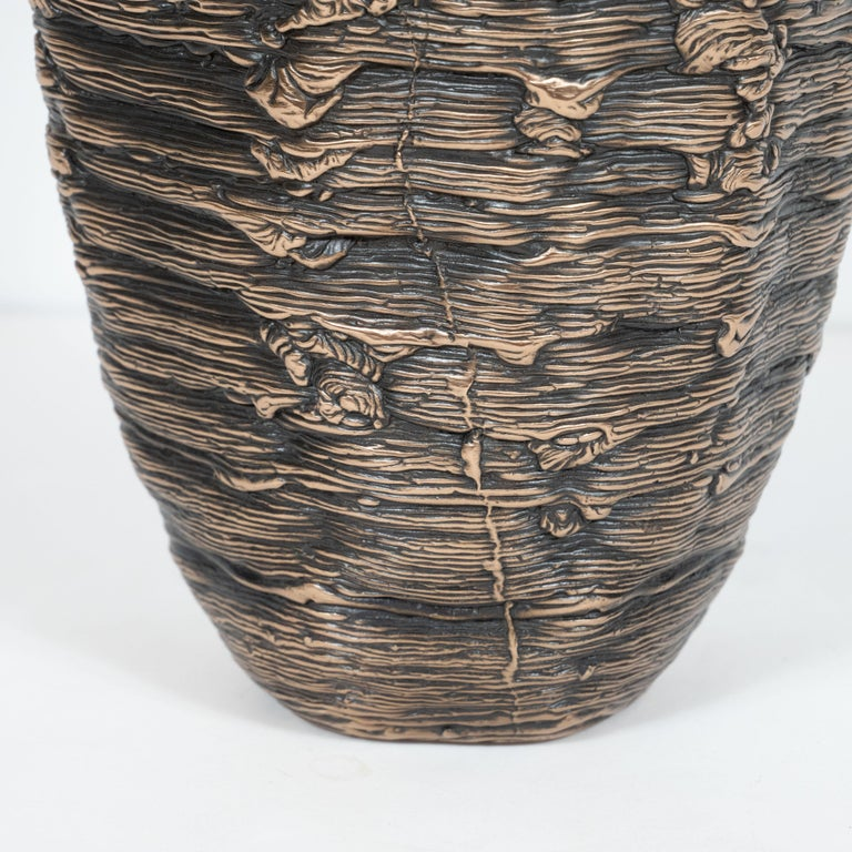 American Modernist Ice Cast Patinated Bronze Vase with Wax Finish by Steven Haulenbeek For Sale