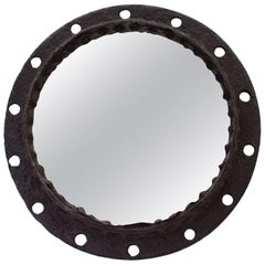Modernist Industrial Brutalist Wrought Iron Wall Hanging Round Porthole Mirror