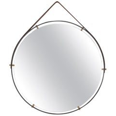 Modernist Industrial Wall Mirror Pablex with Leather Straps