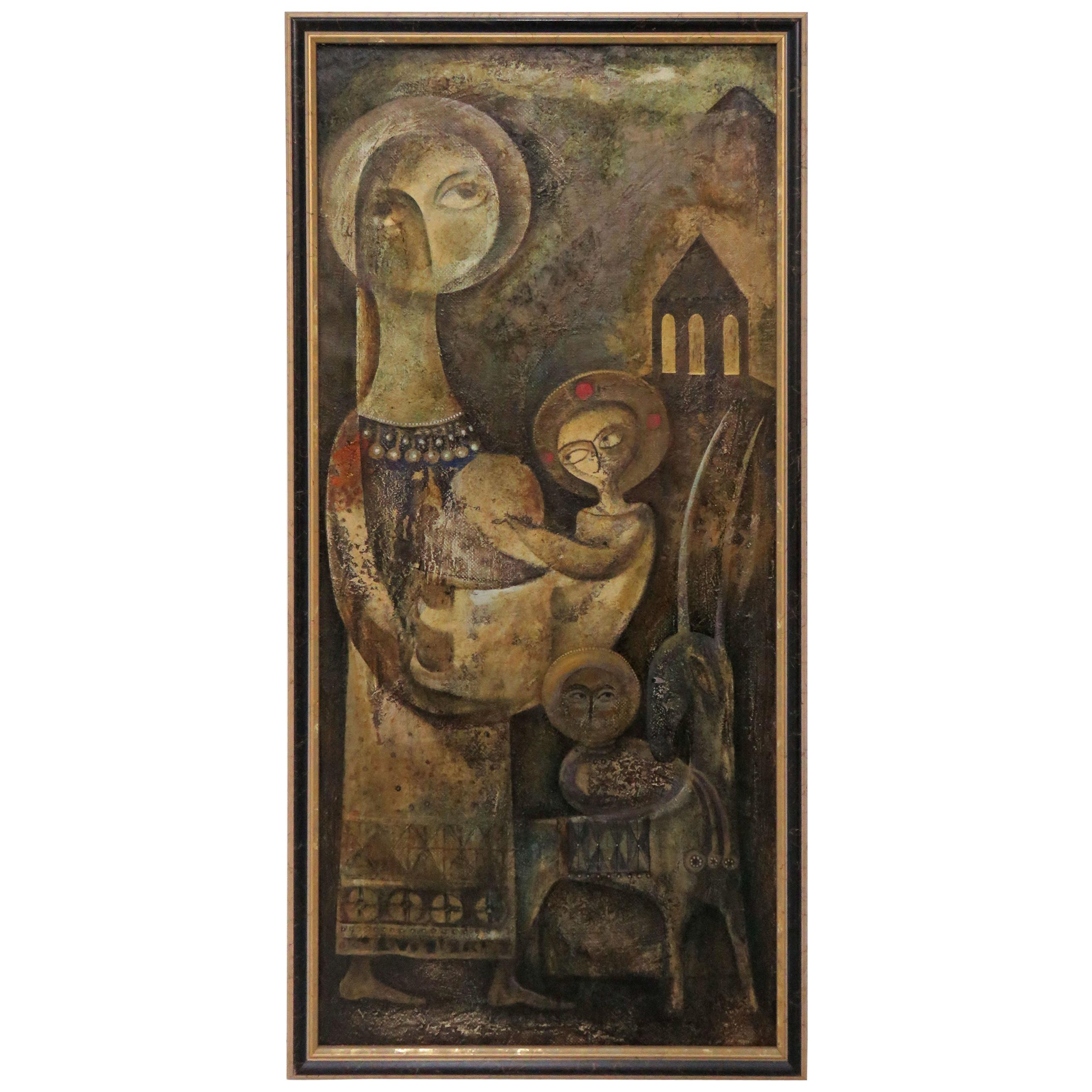 Modernist Inspired Fable Painting by Armenian Artist A. Mouradian