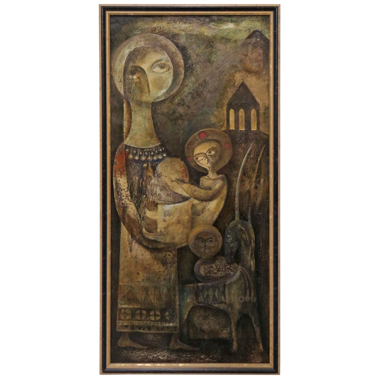 Modernist Inspired Fable Painting by Armenian Artist A. Mouradian For Sale