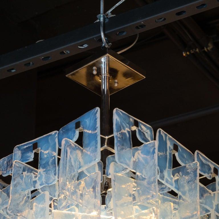 Italian Modernist Interlocking Chandelier in Hand Blown Murano Opalescent Glass For Sale