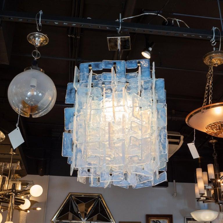 Murano Glass Modernist Interlocking Chandelier in Hand Blown Murano Opalescent Glass For Sale