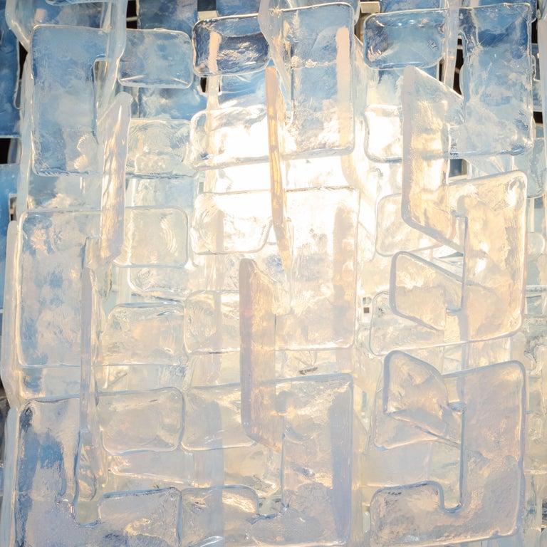 Modernist Interlocking Chandelier in Hand Blown Murano Opalescent Glass For Sale 1