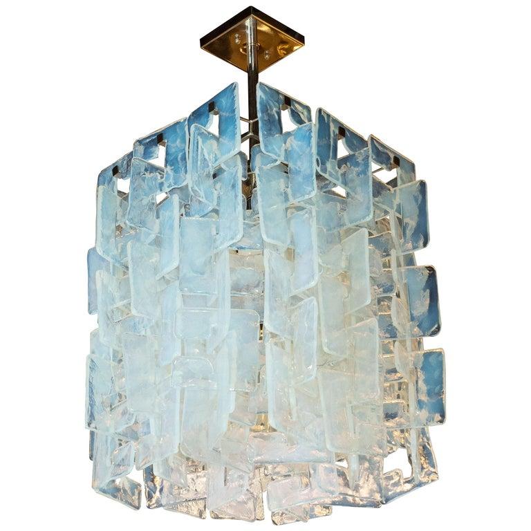 Modernist Interlocking Chandelier in Hand Blown Murano Opalescent Glass For Sale