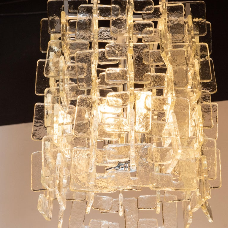 Italian Modernist Interlocking Handblown Murano Glass Chandelier with Chrome Fittings For Sale
