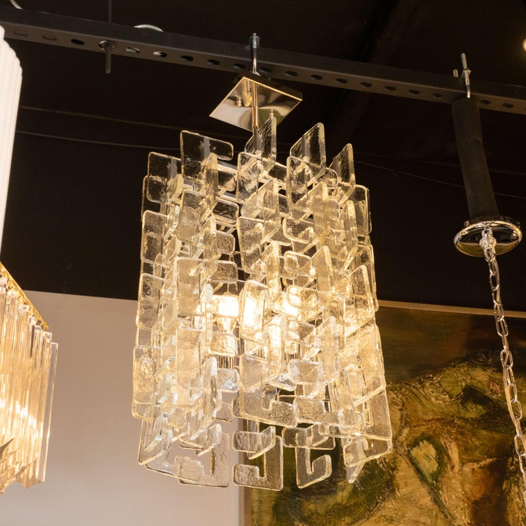 20th Century Modernist Interlocking Handblown Murano Glass Chandelier with Chrome Fittings For Sale