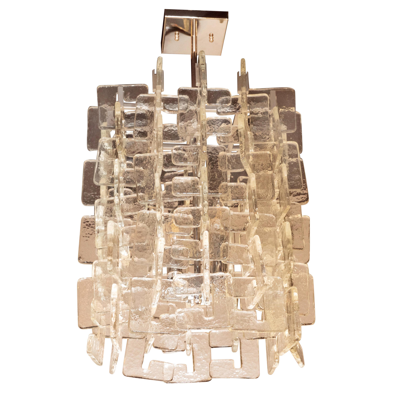 Modernist Interlocking Handblown Murano Glass Chandelier with Chrome Fittings