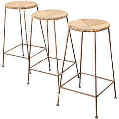 Modernist Iron and Rush Bar Stools