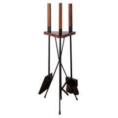 Modernist Iron, Wood and Brass Fire Place Tool Set
