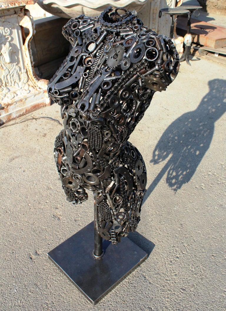 European Modernist Iron Torso Sculpture Made Up of Mechanical Parts For Sale