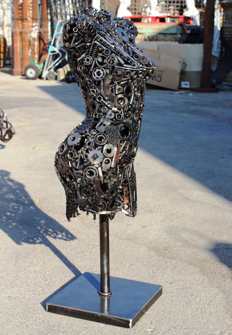 Contemporary Modernist Iron Torso Sculpture Made Up of Mechanical Parts For Sale