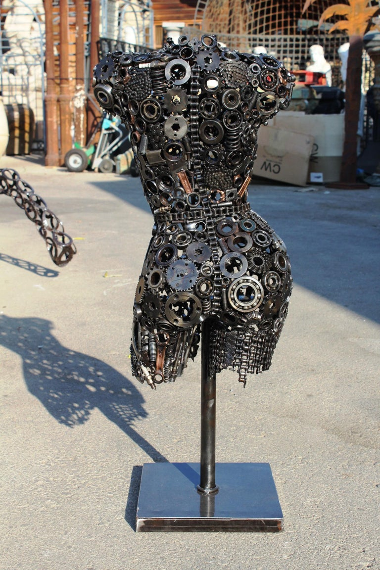 Modernist Iron Torso Sculpture Made Up of Mechanical Parts For Sale 3