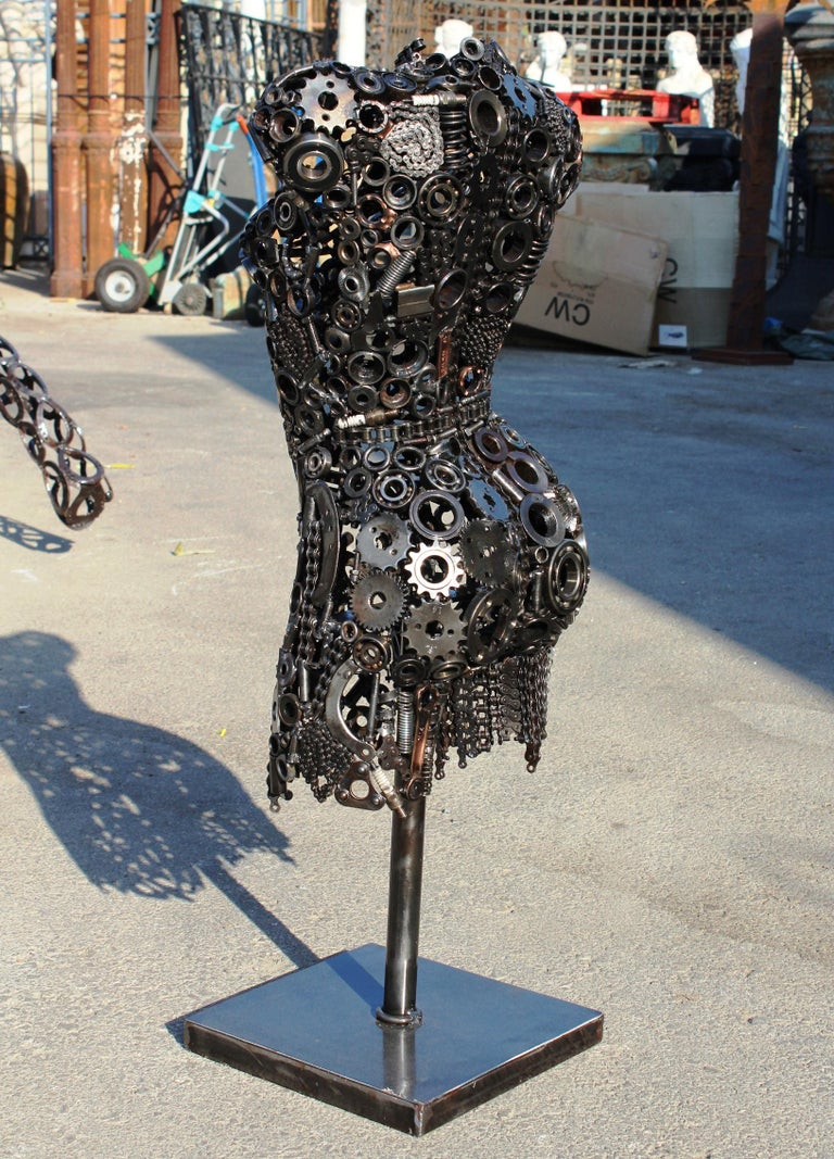 Modernist Iron Torso Sculpture Made Up of Mechanical Parts For Sale 4