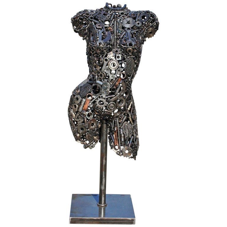 Modernist Iron Torso Sculpture Made Up of Mechanical Parts For Sale