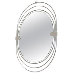 Modernist Italian Chrome Mirror by Sciolari, 1970s
