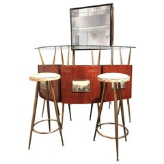 Modernist Italian Coctail Bar Set with Cabinet Gio Ponti Design, 1950s