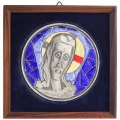 Modernist Italian Giovanni Ottaviani Sterling Silver Enamel Wall Plaque Panel