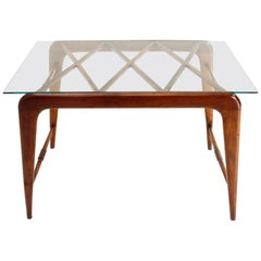 Modernist Italian Glass and Wood Coffee Table, 1940s