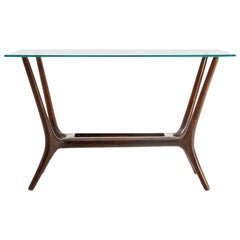 Modernist Italian Glass and Wood Coffee Table, 1950s
