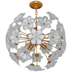Modernist Italian Murano Flower Bouquet Art Glass Gilt Brass Sputnik Chandelier