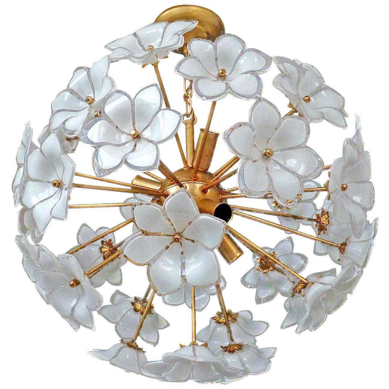 Modernist Italian Murano Flower Bouquet Art Glass Gilt Brass Sputnik Chandelier