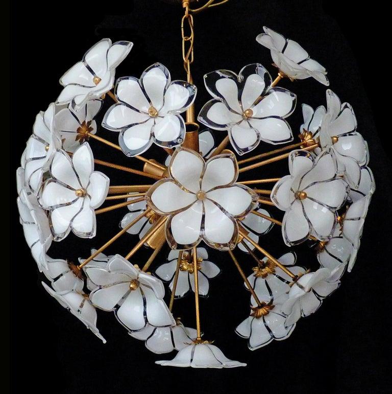 Hollywood Regency Modernist Italian Murano Venini Style Flower Glass Gilt Chandelier