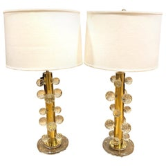 Modernist Italian Solid Brass and Murano Glass Table Lamps, Pair