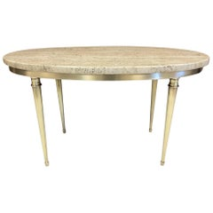 Modernist Italian Travertine and Brass Coffee Table