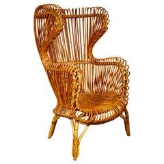 Modernist Italian Wingback Rattan Chair