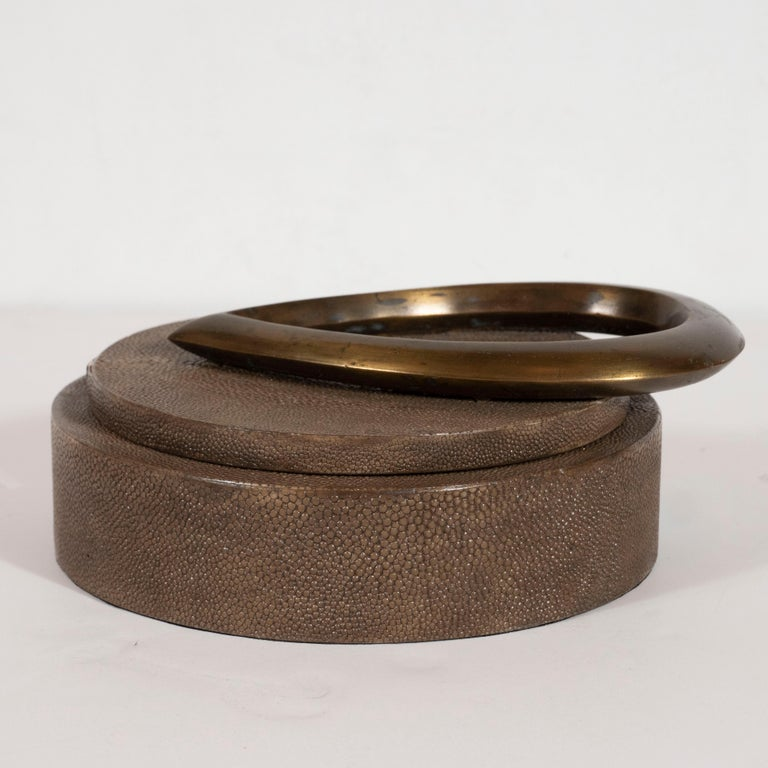 Modernist Java Shagreen Box with Sculptural Bronze Handle by R&Y Augousti In Excellent Condition For Sale In New York, NY