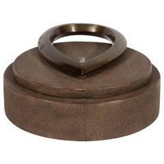 Modernist Java Shagreen Box with Sculptural Bronze Handle by R&Y Augousti